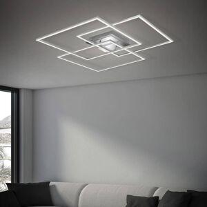 Briloner LED stropní světlo Frame CCT, chrom-hliník 70x70cm