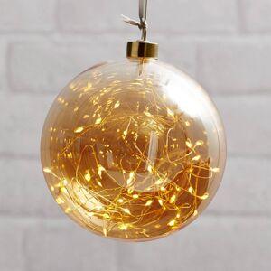 STAR TRADING Glow LED dekorační koule ze skla, Ø 15 cm jantar