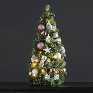 STAR TRADING Noel LED kužel se stříbro/růžovou dekorací