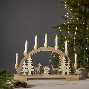 STAR TRADING Fauna LED vánoční oblouk, světlé a tmavé dřevo