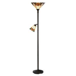 Clayre & Eef Stojací lampa 5969 s lampou na čtení, Tiffany styl