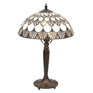 Clayre & Eef Stolní lampa 5998 vzor mušlí, styl Tiffany