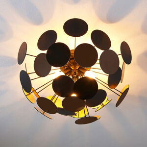 Lindby Černo-zlatá stropní lampa Kinan