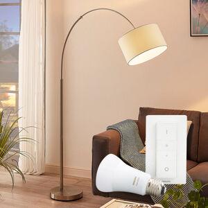 Lampenwelt.com Stojací lampa Railyn s Philips Hue E27 a stmívačem