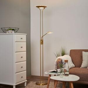 Lindby LED stojací lampa Aras s lampou na čtení, mosaz