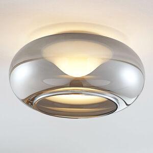 Lucande Skleněné LED stropní svítidlo Mijo v kouřově šedé