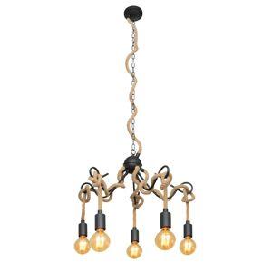 Lucande Lucande Ropina závěsné světlo, pětižárovkové
