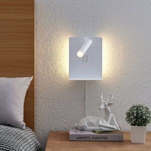 Lucande Lucande Zavi LED nástěnný spot, polička, USB, bílá