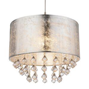 Globo Amy - textilní závěsné svítidlo, stříbrné, přívěsy